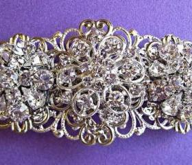 "Wedding hair Barrette, ""vintage Romance"", Crystal Hair Piece, Flower Hair comb, Bridal Hair Accessories"