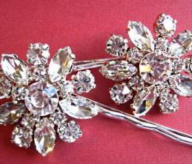 "Wedding Hair Pins,Crystal Floral Hair Acessories, Bridal Hair pins, ""Crystal Bouquet"" Collection"