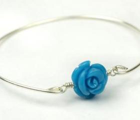 Bangle Bracelet- Turquoise Gemstone Rose Bead and Sterling Silver Filled Wire- Custom Made to Size