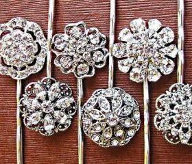 Wedding Hair Pins, Set of 6, Crystal Hair Pins, Silver, Rhinestone, Hair Accessories, Formal, Christmas Gifts for Her, Stoc