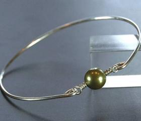 Pearl Bangle Bracelet- Green Swarovski Pearl Bead and Sterling Silver Filled Wire- Custom Made to Size