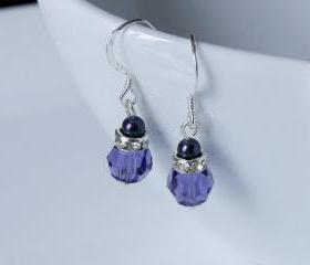 Purple Earrings - Pearl and Crystal, Swarovski - Bridesmaids - Bridal Party Gift