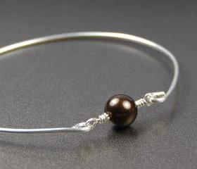 Pearl Bangle Bracelet- Chocolate Brown Swarovski Pearl Bead and Sterling Silver Filled Wire- Custom Made to Size