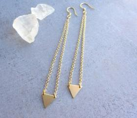 Minimalist gold triangle long earrings, geometric jewelry, simple modern jewelry