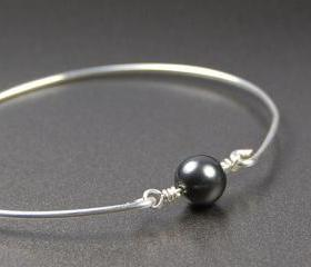 Bangle Bracelet- Dark Grey Swarovski Pearl Bead and Sterling Silver Filled Wire- Custom Made to Size