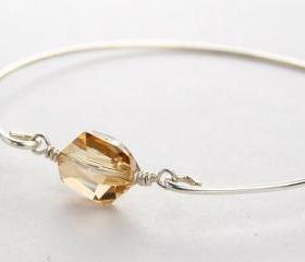 Silver Bangle Bracelet- Golden Swarovski Crystal and Sterling Silver Filled Wire- Custom Made to Size