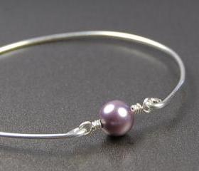 Pearl Bangle Bracelet- Mauve Swarovski Pearl Bead and Sterling Silver Filled Wire- Custom Made to Size