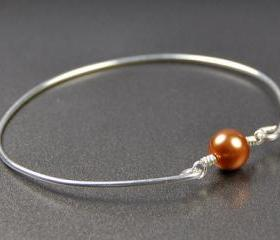 Pearl Bangle Bracelet- Copper Swarovski Pearl Bead and Sterling Silver Filled Wire- Custom Made to Size