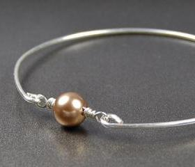 Silver Bangle Bracelet- Bronze Swarovski Pearl Bead and Sterling Silver Filled Wire- Custom Made to Size