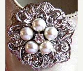 Wedding Shoe Clips, Ivory Pearl and Crystal, Filigree Flower