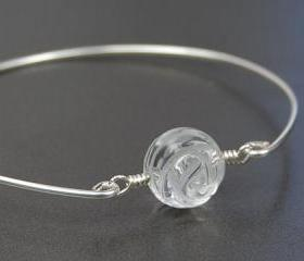 Bangle Bracelet- Clear Quartz Gemstone Rose Bead and Sterling Silver Filled Wire- Custom Made to Size