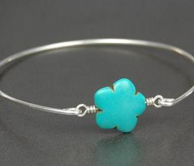 Bangle Bracelet- Carved Howlite Flower Gemstone Bead and Sterling Silver Filled Wire- Custom Made to Size