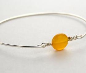 Gemstone Bangle Bracelet- Lemon Yellow Agate Gemstone and Sterling Silver Filled Wire- Custom Made to Size