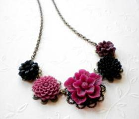 Flower Necklace - Purple Black Flower Cabochon Necklace - Vintage Necklace