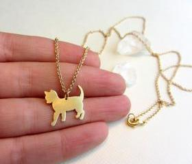 Gold cat necklace, Animal pet jewelry, long pendant, long chain necklace