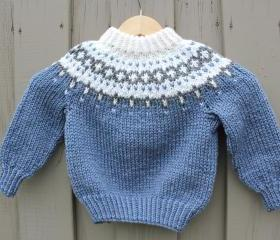 Ready to ship/Blue and Gray Seamless Lopi Iceland Sweater- Handmade- Knitted- Blend of Wool /Size toddler 24 months old