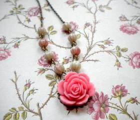 Flower Necklace - Pink Necklace - Vintage Necklace