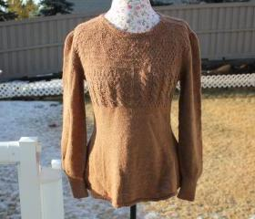 Ready to ship /Gorgeous Hand Knitted-HANDMADE Handspun Natural Brown Alpaca sweater for women or men/unisex/will fit from small to XL