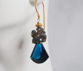 London Blue Quartz Cluster Dangle Earrings - Gemstone Labradorite Cluster Blue Dangle Earrings
