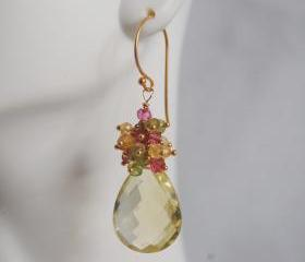  Genuine lemon Quartz Cluster Dangle Earrings - Gemstone peridot - pink quartz Cluster Dangle drop Earrings