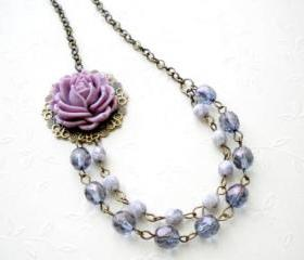 Bib Necklace - Purple Flower Necklace - Vintage Necklace - Bridesmaid Necklace