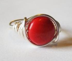 Red Magnesite Gemstone Ring in Silver, Wire Wrapped Jewelry