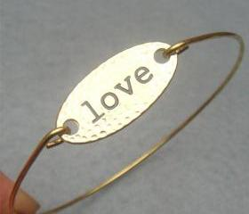 Love Brass Bangle Bracelet