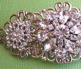 Wedding hair Barrette, Sparkling flowers, bridal hair accessories