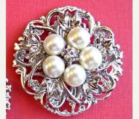 Wedding Brooch, Sash ,Cake, Pearl Blossom