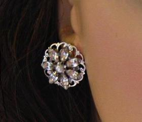 "Wedding Earrings, stud Earrings, ""Crystal Bouquet"" Bridal Post Earrings"
