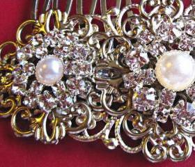 Wedding hair comb, Pearl hair accessories, Bridal Pearl Accessories, Pearl and crystal Comb