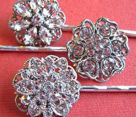 Wedding Hair pins-Bridal Hair Accessories Crystal Hair Pins,Flower Hair Pins -Set of 3