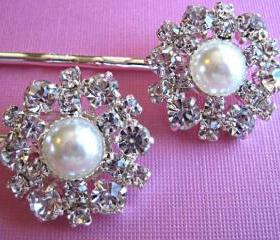 Wedding Hair Accessories, Bridal Pearl Hair Pins ,Hair Clips Set of 2, Crystal Hair Piece