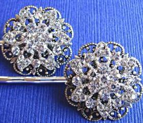 Wedding Hair Pins, Crystal Flowers, Flower Hair Piece, Bridal HIar accessory , Set of Two