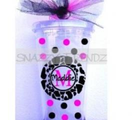 16oz. Personalized Pink/Black Monogram Tumbler