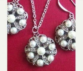 Wedding Jewelry, Pearl Necklace, Earrings,brides Maids Jewelry