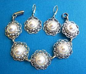 Wedding Jewelry, Bracelet , Earrings, Ivory or White Pearl, Radiant Collection, Christmas party, gift for her, stocking stu