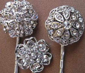 Wedding Hair Pins, Bridal Accessories, Bridesmaids Hair Accessories, Crystal Hair pins, Set of 3, Crystal Floral Hair Piece