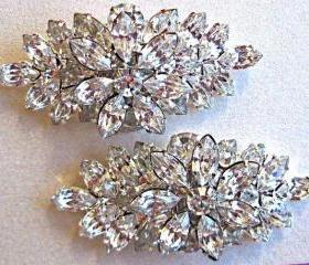 Weddings, Accessories, Hair, vintage style ,bobby pins ,crystal ,silver bridal ,brides maids ,hair pin set, clear crystal ,wedding accessory, bridal accessories, bridal hair ,crystal and silver ,party jewelry