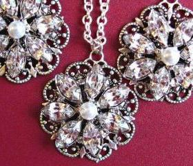 Weddings,Necklace and Earring Set &quot;Crystal Bouquet&quot; , Bridal Jewelry