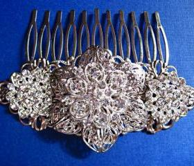 Wedding Hair Comb, Bridal Accessories,Silver and crystal, Hair piece, &quot;Silver Petals&quot; Collection
