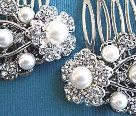 Bridal Hair Accessories, Wedding Hair Combs-Pearl and crystal Comb, Ivory Pearl Comb, White Pearl Comb- Ivy Rose collectio