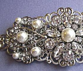 Wedding Hair Barrette- Pearl Hair Piece - Pearl and Crystal and Silver- Wedding Hair Clip-Ivy Rose Collection