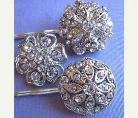Wedding Hair Pins- Bridal Hair accessories- Vintage Style Hair Accessories, Hair Pin set of 3