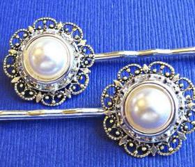 "Wedding Hair Pins, white Pearl, Victorian Style, ""Radiant"",Gift for her, Christmas Party, Stocking Stuffer"