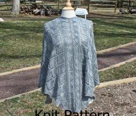 Knit Shawl Pattern - Triangle Shawl pattern - easy lace pattern leaf