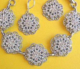 Wedding Jewelry Set, Bracelet and earrings, &quot;Floral Ice&quot;