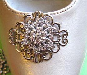 Bridal Accessories- Shoe Clips- Vintage Style-Crystal Flowers
