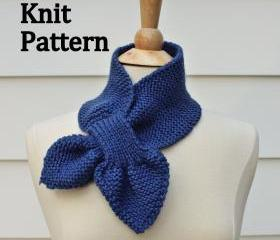 Knit Pattern keyhole scarf pattern - unique no slip warm winter