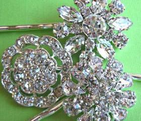 Wedding Hair Pins, Bridal Accessories, Crystal Hair Pins, Flower Accessories, Vintage style Hair clips,Set of 3